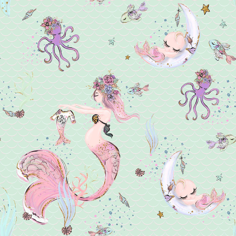 under the sea nursery cotton fabric mermaid nursery knit fabric mermaid prints mermaid fabric cotton by the yard fabric by the yard