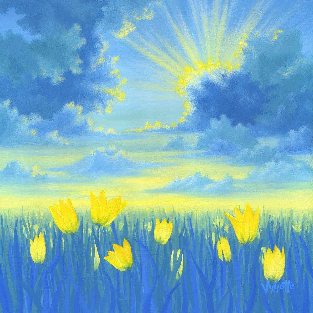 Sunrise Landscape Painting With Yellow Flowers Acrylic Painting Joyful Sunrise By Vygotte Positive Art For Positiv Flower Painting Painting Poster Prints