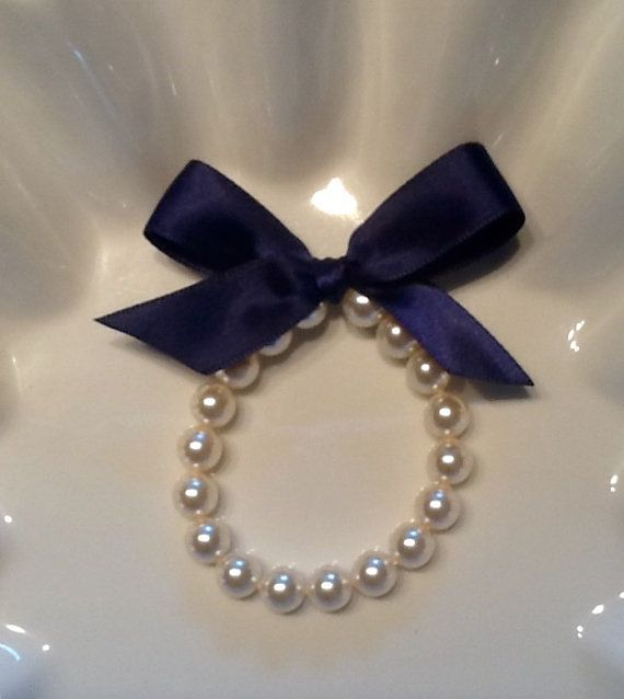 Flower Girl Pearl Bracelet with Navy Blue bow by mmtncrfts on Etsy