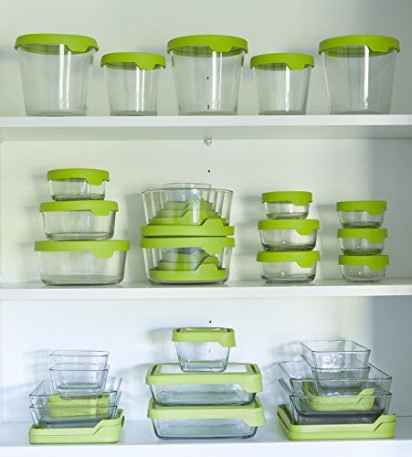 Anchor Hocking Trueseal 1 Cup Glass Food Storage Container With Airtight Lid Green Glass Food Storage Containers Glass Food Storage Food Storage