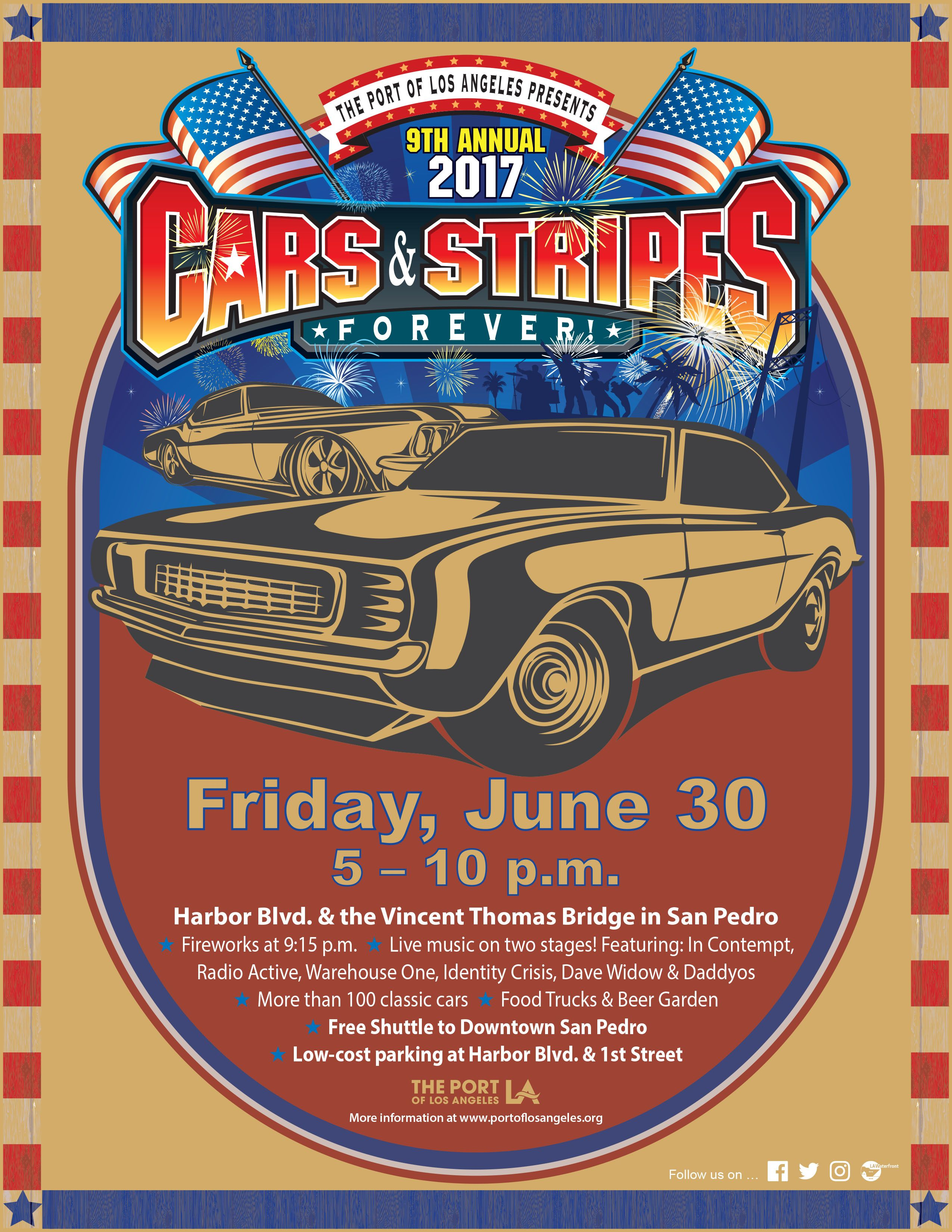 Hosted By The Port Of Los Angeles Cars Stripes Forever Is A - Port angeles car show