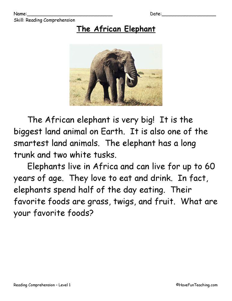 The African Elephant Reading Prehension Worksheet