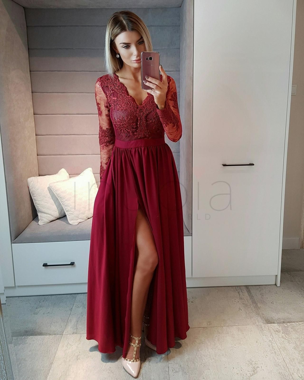 Long sleeves wine red prom dressformal occasion dress burgundy