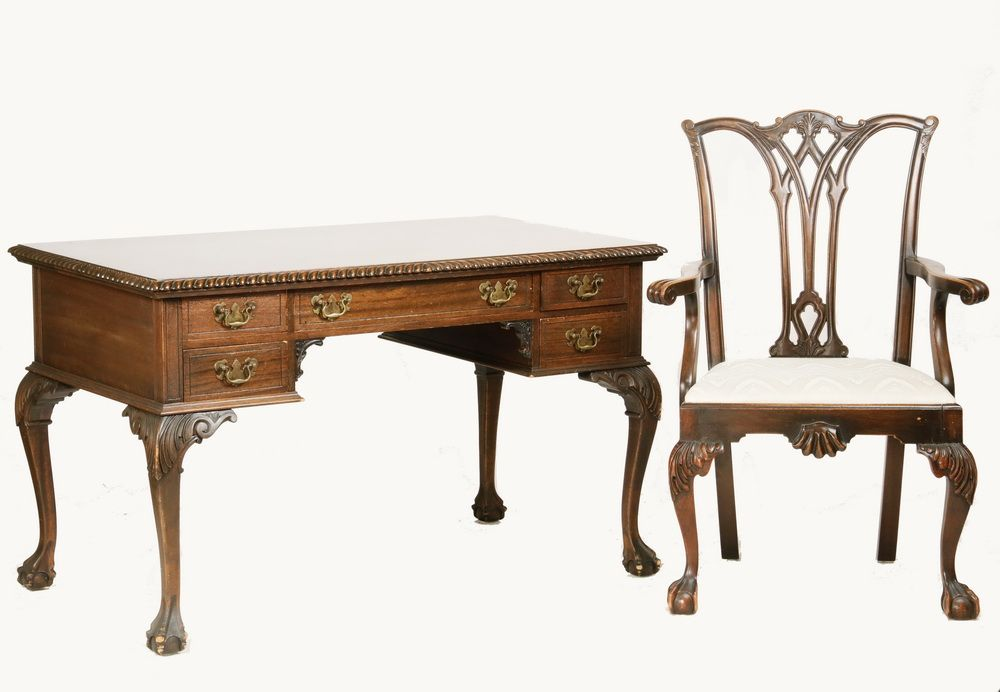 Chippendale Style Desk With Armchair Walnut Desk And Armchair In