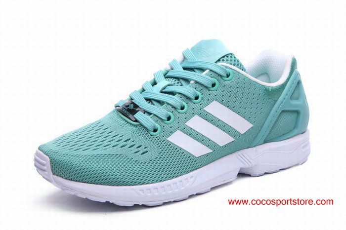 Adidas ZX Flux Small Fresh Green White Womens Running Shoes For Summer