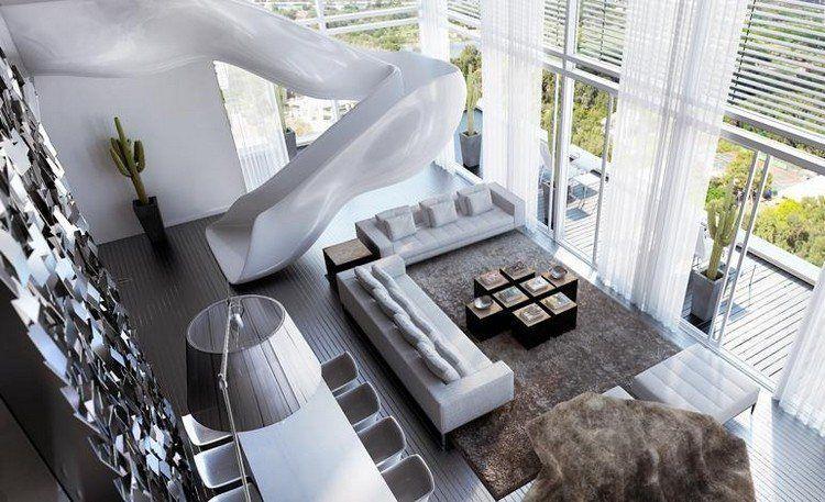 maison avec toboggan au design futuriste, salon moderne, grande