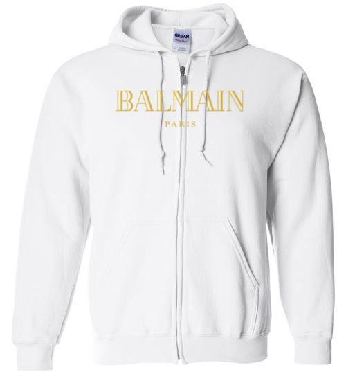 4ef21f1dc1a awesome Balmain Gold Logo Zip Hoodie