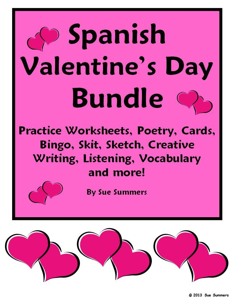 Valentines Day Bundle in Spanish by Sue Summers  15 Items 73