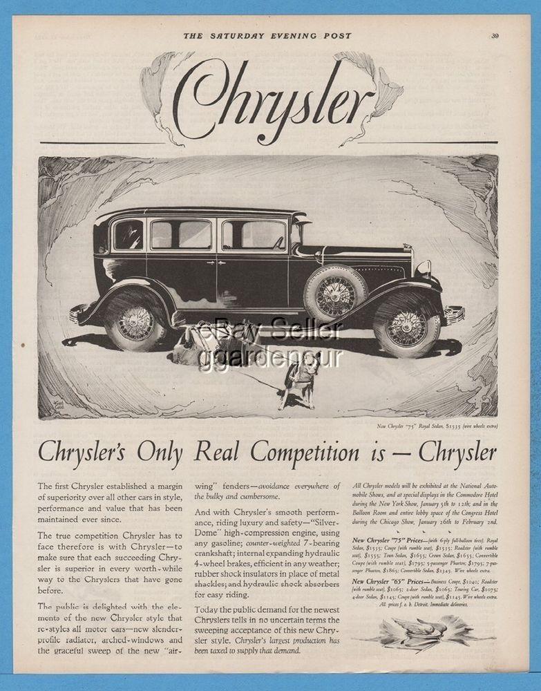 1928 Chrysler 75 Royal Sedan Antique Motor Car Automobile Fred Cole Art Ad Chrysler Car Ads Antique Cars
