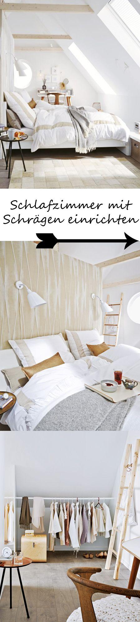 Unterm Dach Schlafzimmer Mit Schrägen Einrichten Wohnidee Schlafzimmer Einrichten Zimmer Schlafzimmer Dachschräge