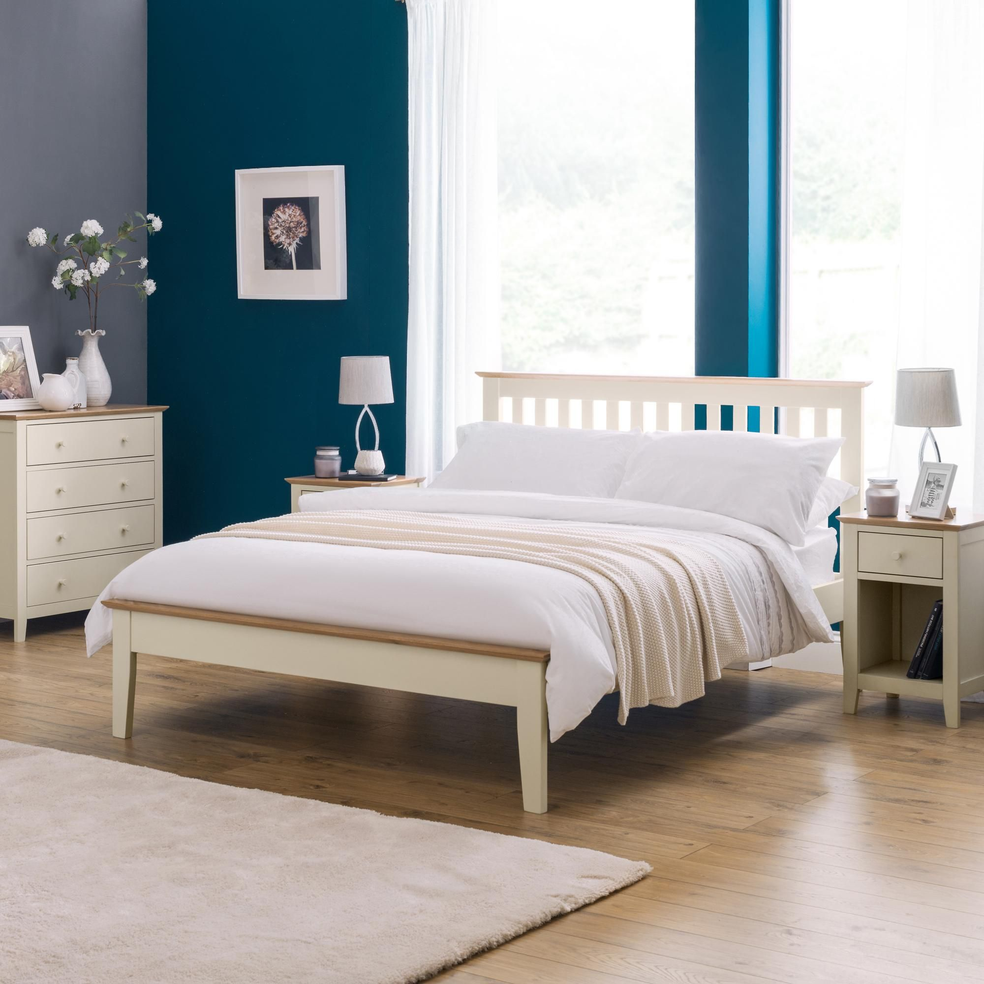 Salerno Two Tone Ivory Wooden Bed Frame In 2020 Bed Frame With