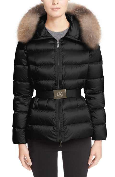af6e7c5f8 Moncler 'Tatie' Belted Down Puffer Coat with Removable Genuine Fox ...