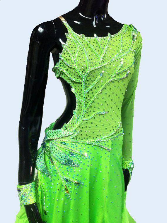 Green Ballroom Dance Dress Green Ballroom Dance Gowns Etsy Dance Dresses Ballroom Dance Dresses Salsa Dress Dance