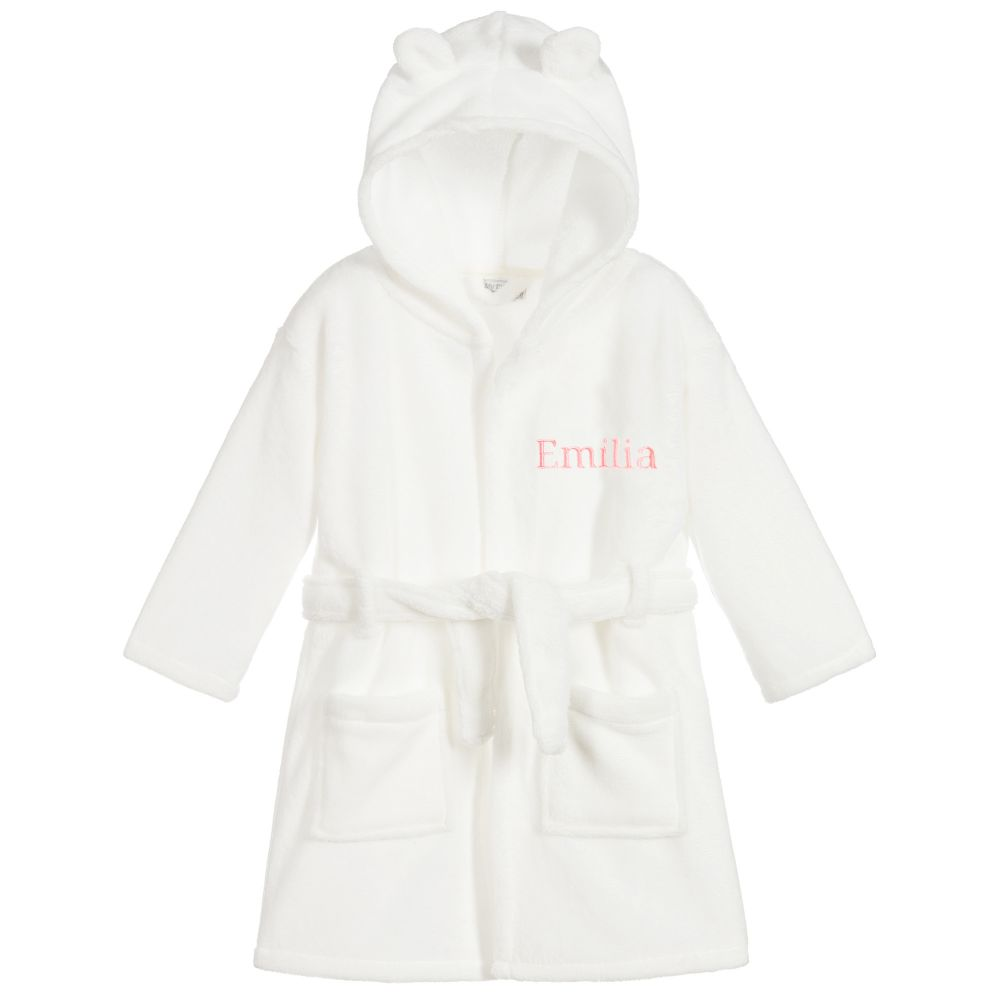 Snuggly Unisex White Hooded Dressing Gown with Ears