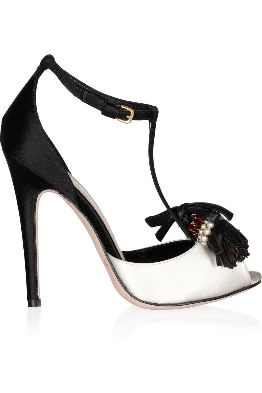 Embellished satin peep-toe sandals by Giambattista Valli.