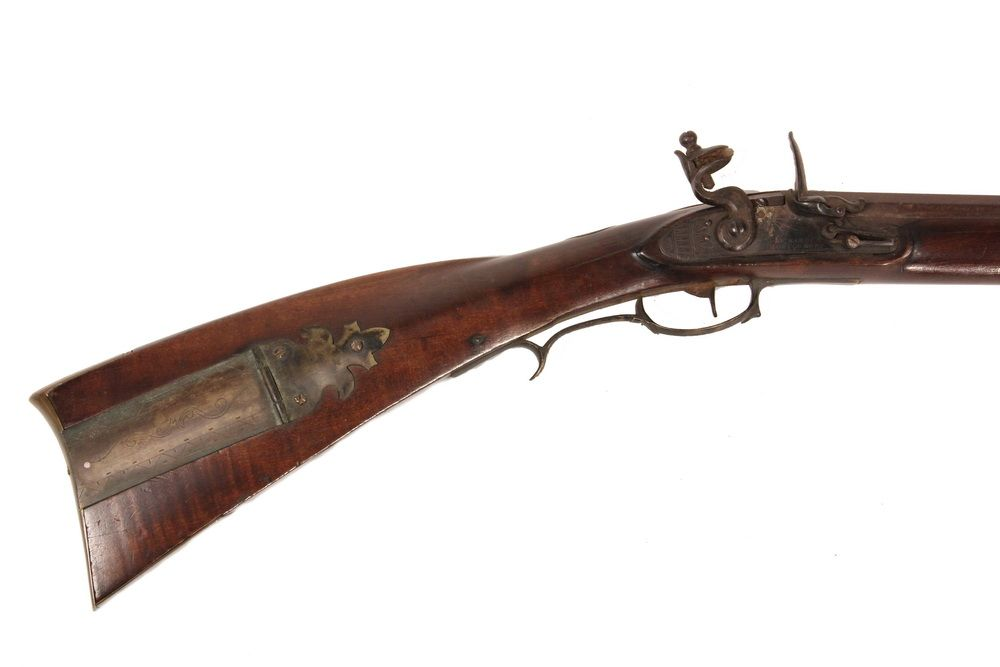 SOUTHERN LONG RIFLE - 19th c  Flintlock Rifle with burl