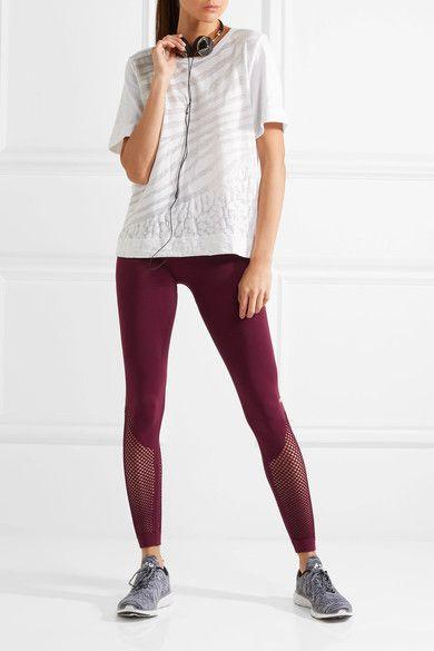 Burgundy stretch-nylon and mesh Pull on 92% nylon, 8% elastane Machine wash Designer color: Cherry Wood