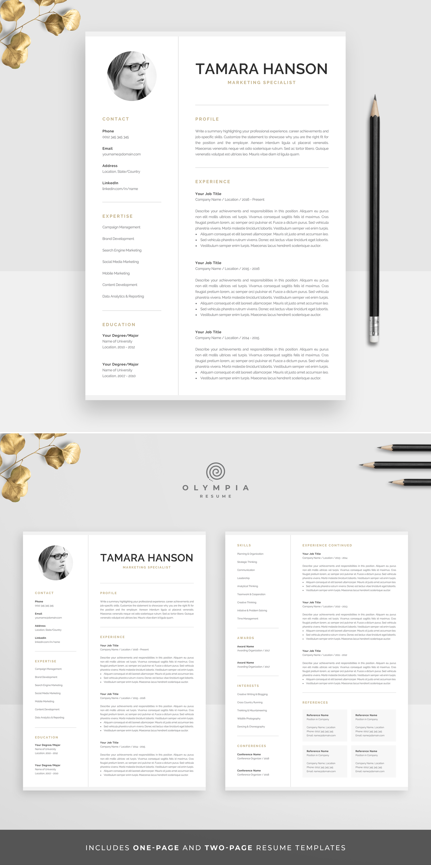 Modern Cv Template With Photo 1 2 Page Resume Etsy Cv Template Creative Cv Template Modern Cv Template