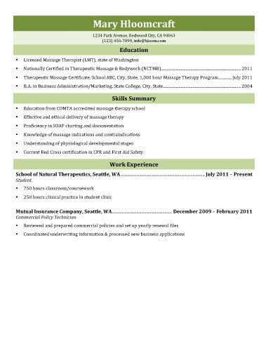 massage therapist resume template without experience