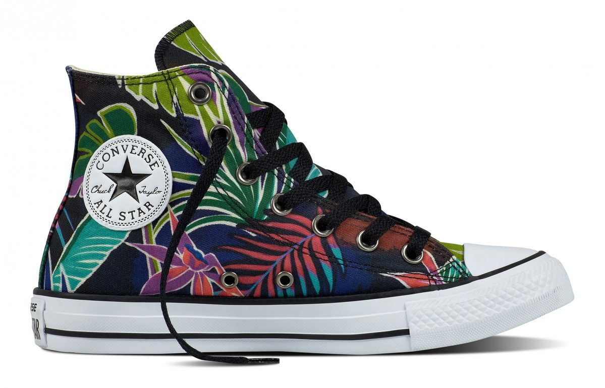 aaca329ee91626 Converse Chuck Taylor All Star Hi Top Tropical Print Fuchsia Glow Menta  White