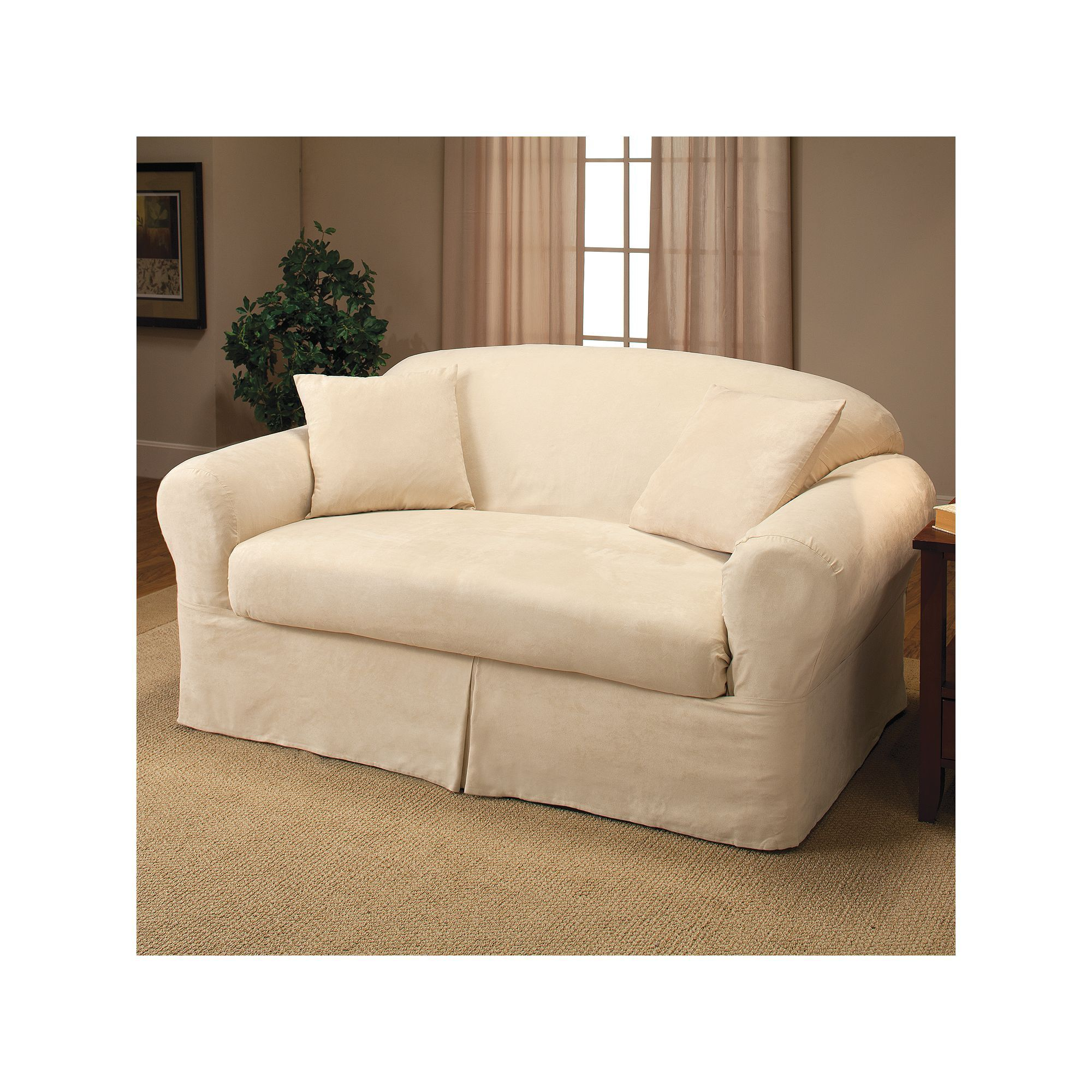 Madison Kissen Madison Faux Suede Loveseat 2 Pc Slipcover Products Beige