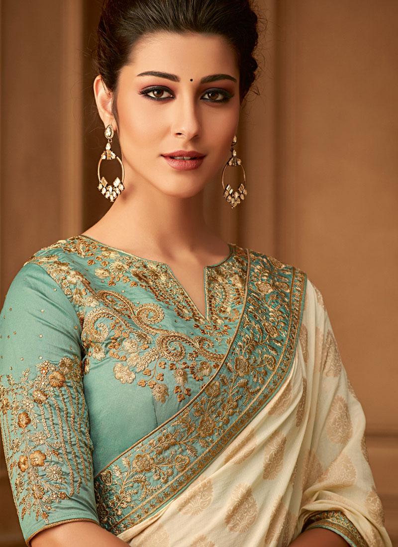 Attractive Banarasi Silk Trendy Saree   Blouse neck ...