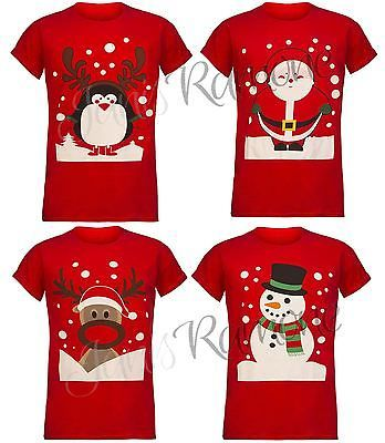 New Womens Novelty Xmas Santa Reindeer Print Short Sleeve Christmas T Shirt Top