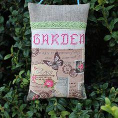 Grand sac de 100 % lavande garden brodé main en fuchsia et dentelle vert anis