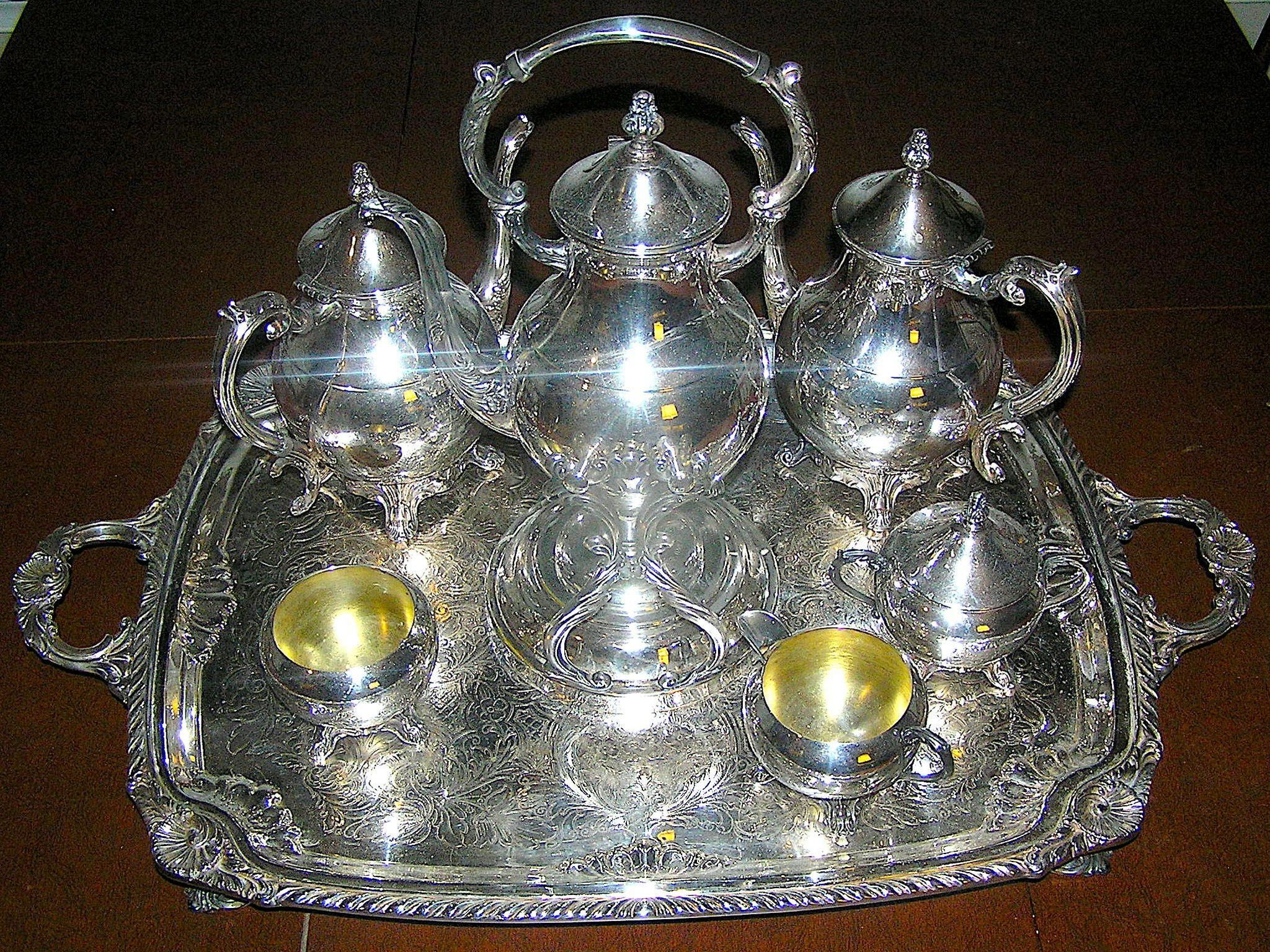 Vintage Silverplate ten piece tea and coffee service by F