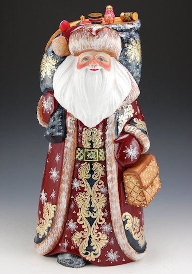 Unique shape Russian Wood Hand Carved Hand Painted Santa w// Christmas Tree