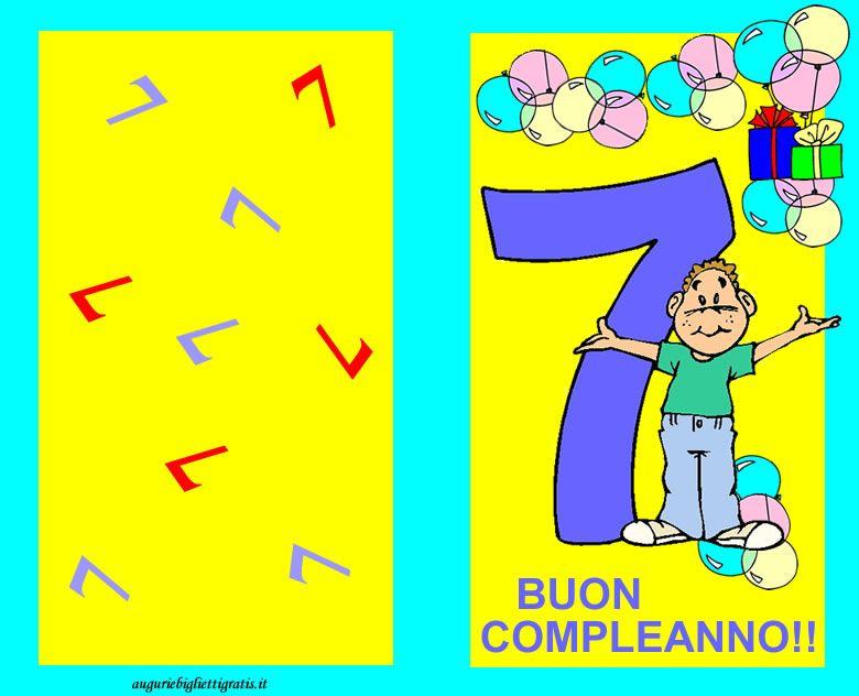 Estremamente Biglietto di buon compleanno per bambini di 7 anni azzurro e  UB29