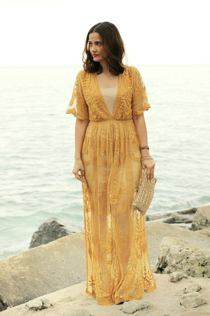 Morning Lavender Mila Marigold Lace Maxi Jumpsuit Yellow Mustard Lace Maxi  Dress Blogger Outfit 0639a90fe