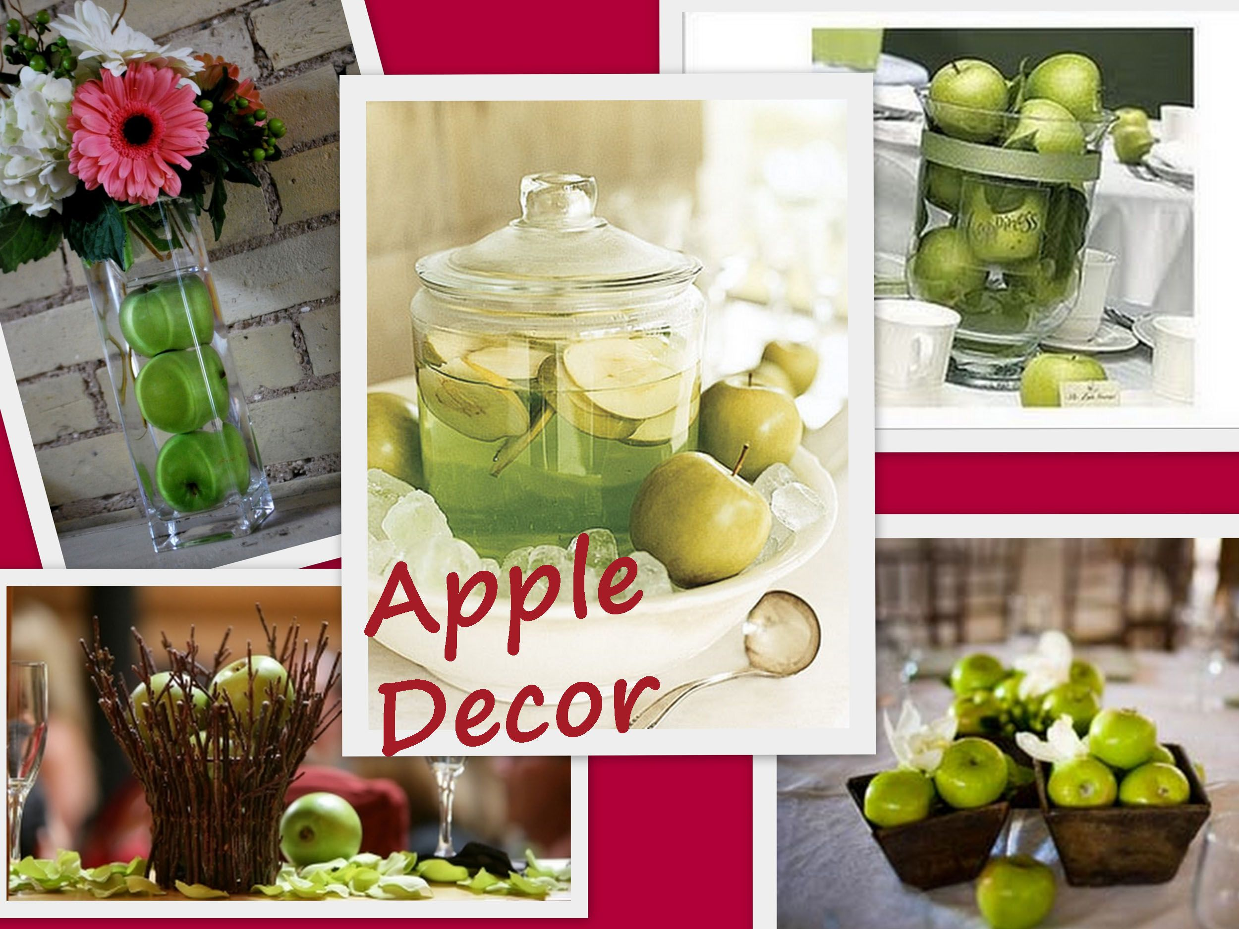 wedding table decorations using apples | apples in basket ...