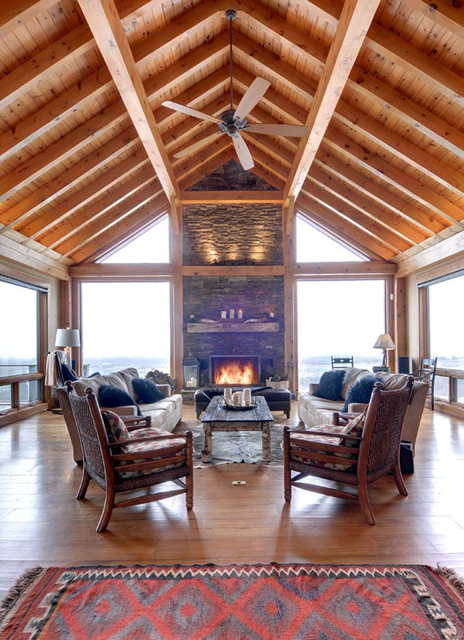 Timber Frame Interior Design - Normerica Authentic Timber Frame | At ...
