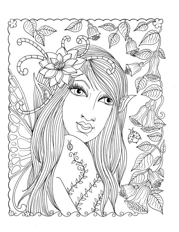 5 pictures fairies instant downloads adult coloring book digi digital color page fantasy art. Black Bedroom Furniture Sets. Home Design Ideas