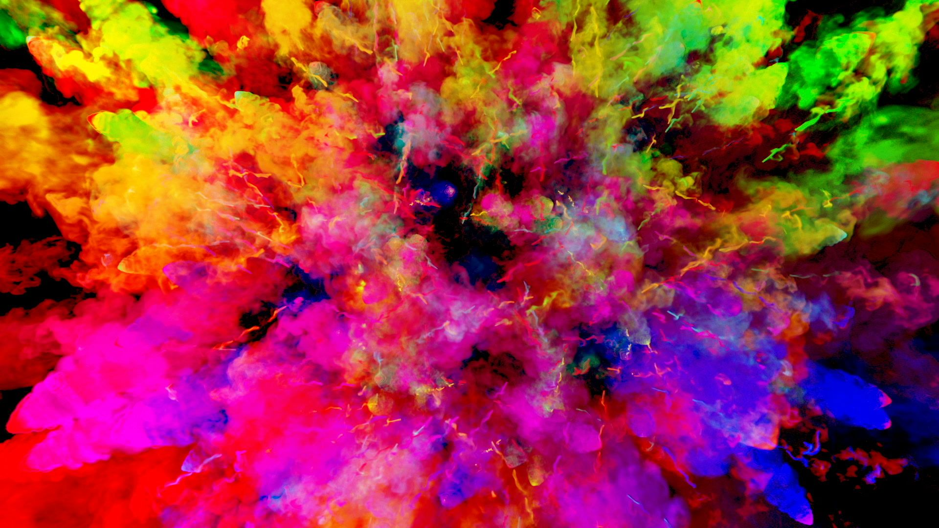 Firework of paint, explosion of colorful powder isolated