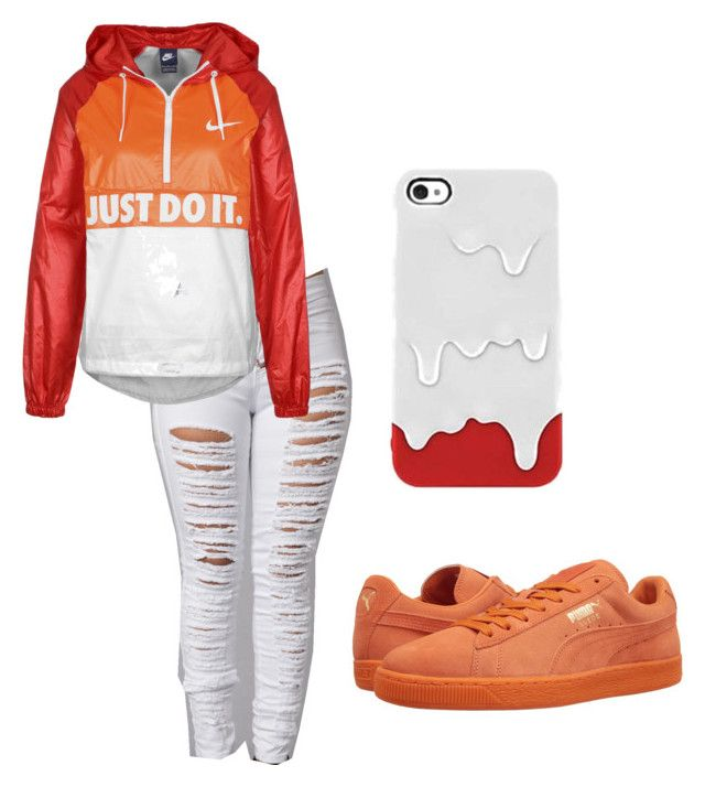 """""""red,orange,white"""" by glogodxx ❤ liked on Polyvore featuring beauty, NIKE and Puma"""