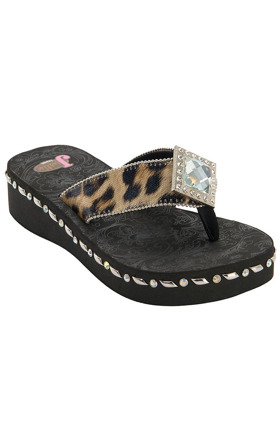b957ae60b Justin® Samantha™ Women s Black Brown Leopard Print Jeweled Flip-Flop