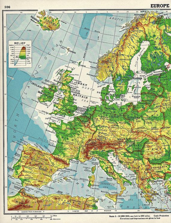1930s Map Of Europe.Vintage Continent Of Europe Atlas Map Page 1930s 3 50 Art
