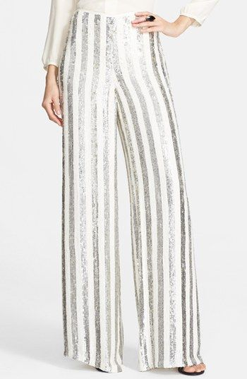 St. John Collection Sequin Stripe Wide Leg Pants available at #Nordstrom