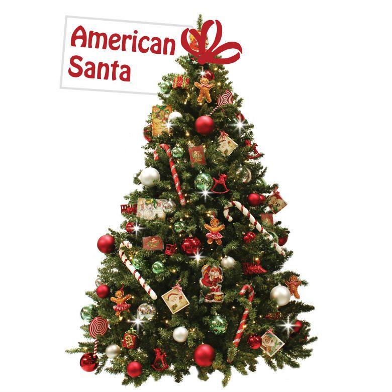 Versierde Kerstboom American Santa Versierde Kerstbomen Kerstsok Kerstdecoratie