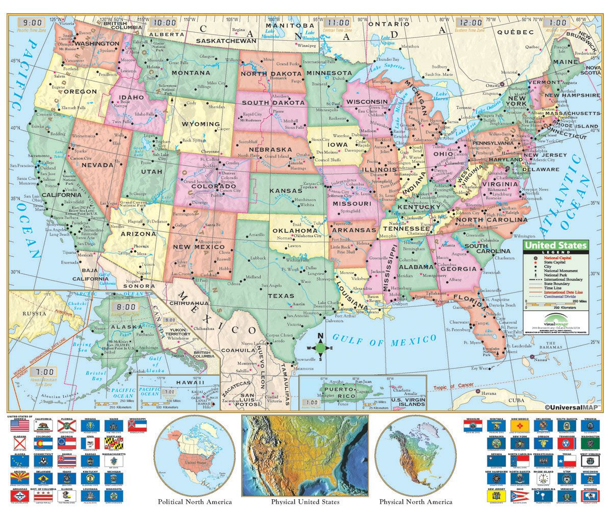 U S Political Wall Map U S Edition Identifies State Borders Capitals And Time