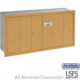 Salsbury 3506ru 6 Door Vertical Mailbox Finish Recessed Mounted Usps Access Commercial Mailboxes Vertical Locker Storage