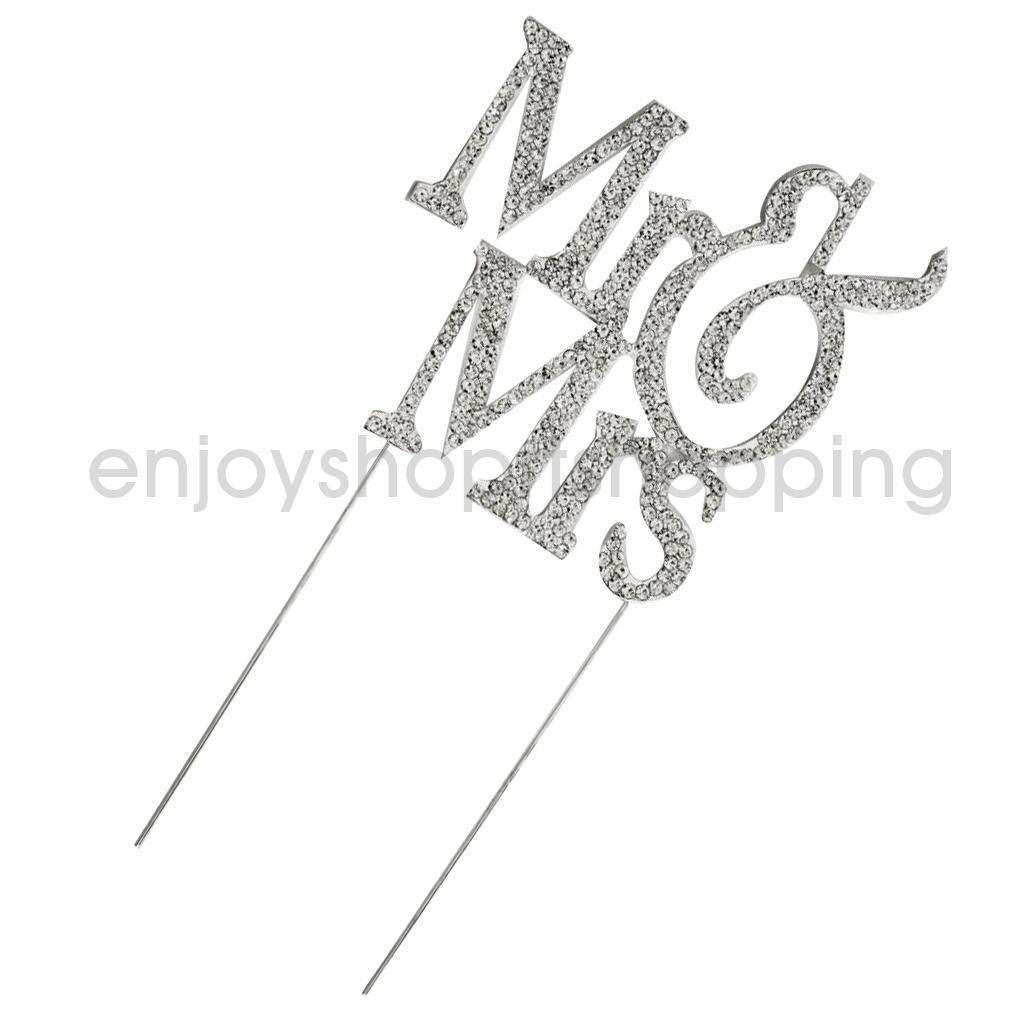 $8.72 AUD - Rhinestone Cake Topper Wedding Monogram Mr & Mrs Bling ...