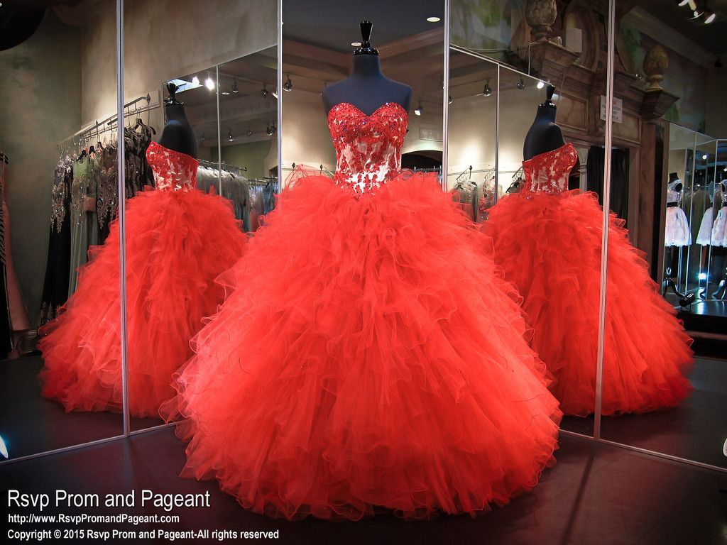 Red Nude Quinceanera Gown-Ruffles-Sweetheart Neckline-Lace