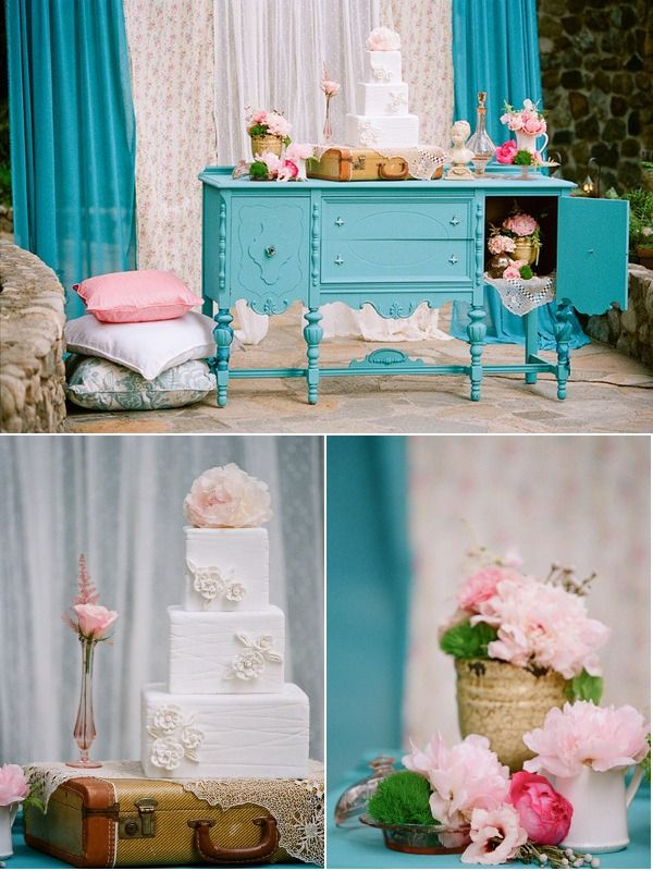 Eye Candy: Vintage English Garden Turquoise Inspired Wedding