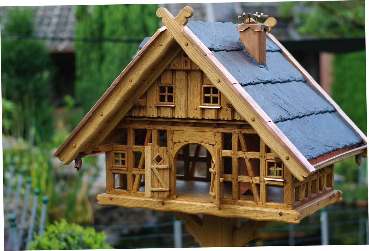 Vogelhaus Schiefer Futterhaus Futterhäuschen Vogelvilla aus Holz Groß