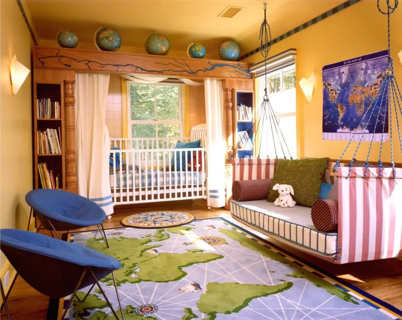 Sunny orange wall and world map decor on carpet globe and wall kids bedroom new trend in boys bedroom designs with bunk bed boys room decor ideas with laminated wooden flooring world map carpet wood bookcase blue white gumiabroncs Image collections