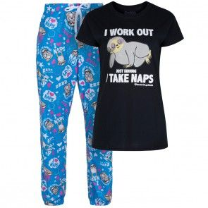 Cat Lady David and Goliath Cat Themed PJ Pyjama Set Charcoal