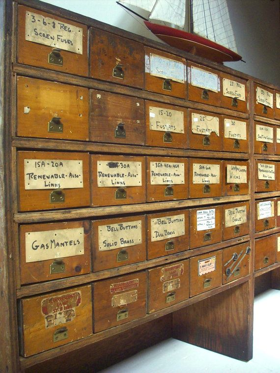 fastest way to my heart? drawers and LOTS of them - Vintage Hardware Store Bins And Plywood Shelving Cabinet / Pine